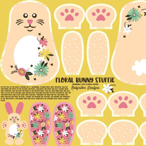Floral Bunny Stuffie Cut and Sew Panel