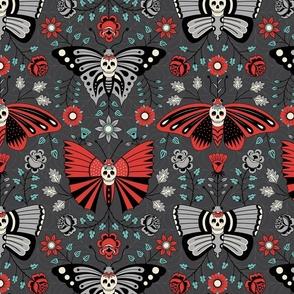 Butterflies and Skulls Dark