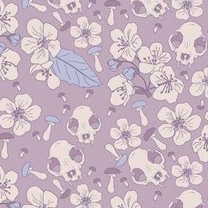 skull mushrooms on purple