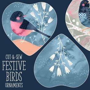 Cut and Sew Festive Birds Ornaments
