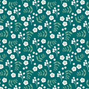 Little flower blossom garden leaves and berries romantic english garden sea green sage SMALL