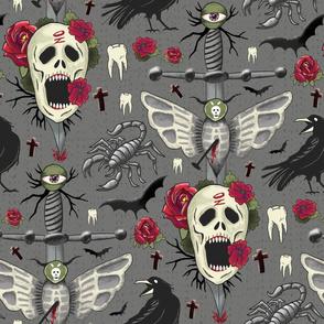 creepy gothic halloween skulls on gray