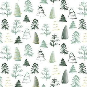 """.5"""" Christmas Trees on White"""