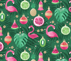 Tropical Flamingo Christmas Ornaments