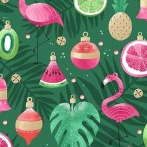 Tropical Flamingo Christmas Ornaments / Small Scale
