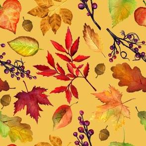 "8"" Vibrant Fall | Autumn Leaves Pattern_Yellow"