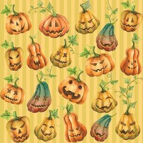Smiling Jack O Lanterns on Yellow | Green Stripe Pattern