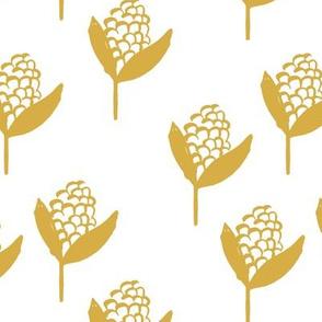Little corn fields crops autumn harvest boho farming garden minimal scandinavian trend ochre yellow on white