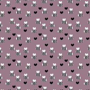 Bumblebee love hearts minimal basic heart shape plum mauve purple black SMALL