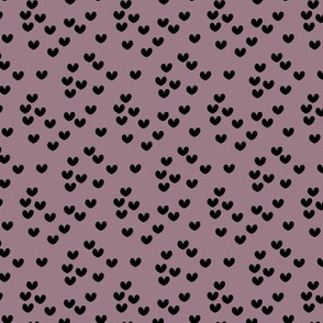Bumblebee love hearts minimal basic heart shape plum mauve purple black SMALL