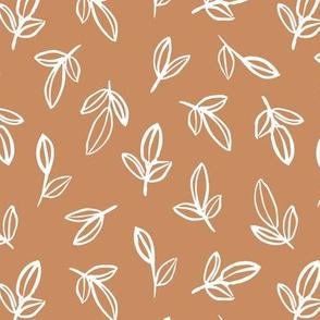 Minimal autumn leaves delicate petals garden sweet baby nursery neutral boho design caramel brown
