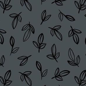 Minimal autumn leaves delicate petals garden sweet baby nursery neutral boho design stone charcoal gray black