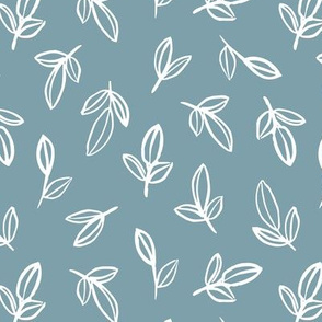Minimal autumn leaves delicate petals garden sweet baby nursery neutral boho design cool blue white