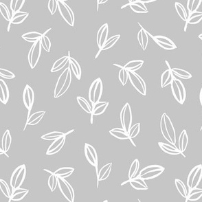 Minimal autumn leaves delicate petals garden sweet baby nursery neutral boho design soft gray white
