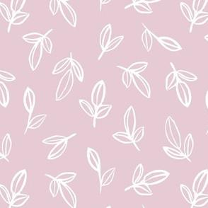 Minimal autumn leaves delicate petals garden sweet baby nursery neutral boho design soft pink white