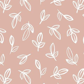 Minimal autumn leaves delicate petals garden sweet baby nursery neutral boho design soft latte tan