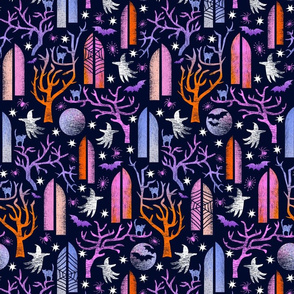 Gothic halloween 2 in purple and blue with spider webs- medium scale
