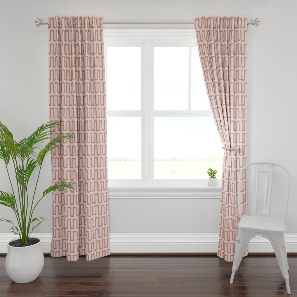 Plymouth Curtain Panel featuring Urn in terracotta by domesticate