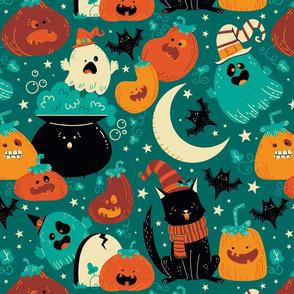 Halloween cats-ghost-pumpkins