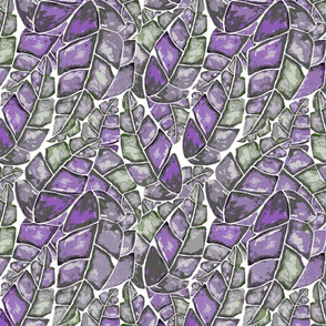 Tropical Canopy - Violet / Green on White