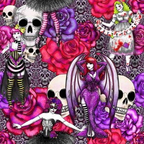 gothic Halloween dark floral burlesque pinups