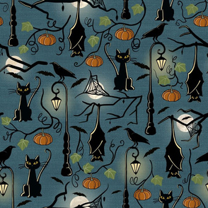 Bats, cats and crows on lampshade. Large scale.
