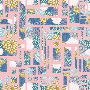 Geometric Floral Collage seamless pattern