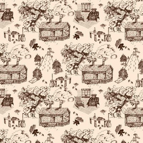 Country Toile Brown on Peach