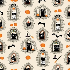 Halloween Cats in Gothic Windows