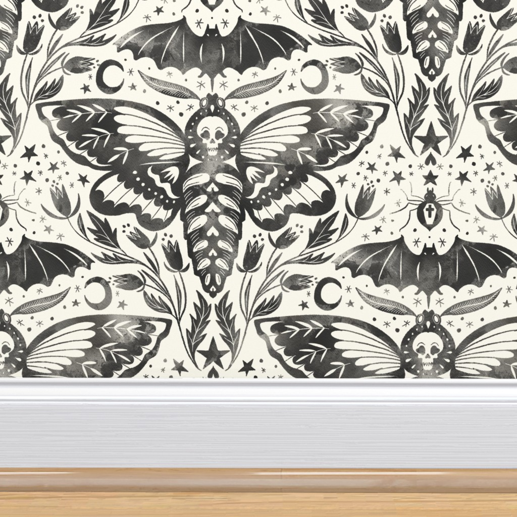 Peel-and-Stick Removable Wallpaper Moth Halloween Skull October H336