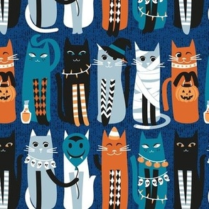 Small scale // High Gothic Halloween Cats // blue background orange turquoise blue white and black kittens