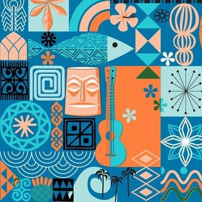 na paila* (Blue Liz) || Hawaii Hawaiian sun beach tropical palm trees atomic midcentury modern leaves flowers ukulele fish honu sea turtle rainbow tiki tribal waves ocean