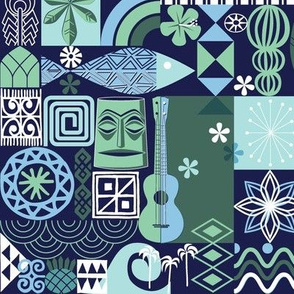 na paila* (Jackie Blue) || Hawaii Hawaiian sun beach tropical palm trees atomic midcentury modern leaves flowers ukulele fish honu sea turtle rainbow tiki tribal waves ocean