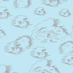 Gray Clouds on Blue Large Motifs