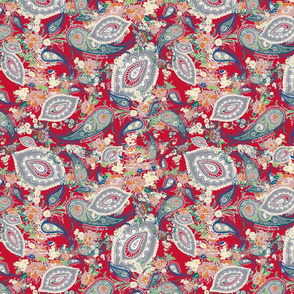 paisleys gray mauve3 red distressed-ch