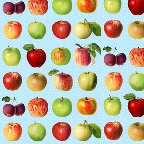 Apples and dots on sky blue ground