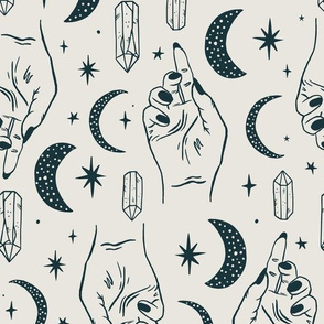 *temporarily resized to 50%* Celestial Halloween - Black on Ivory - large scale