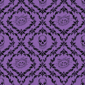 Gothic SkellyCat Damask © Julee Wood