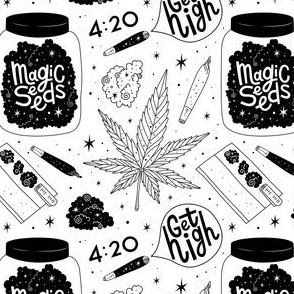 Small scale / magic seeds b&w outline