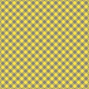Gingham Tiny Small Yellow Gray Buffalo check diagonal dog collar Fabric