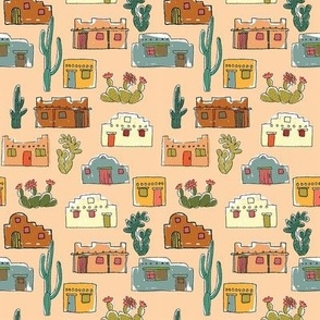 Colorful Adobe Houses, peach, smaller