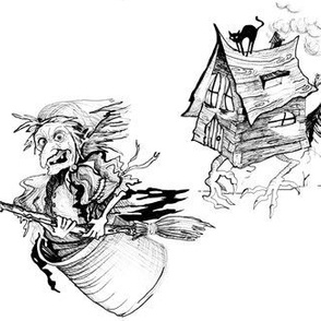 baba yaga and the house on chicken legs - white