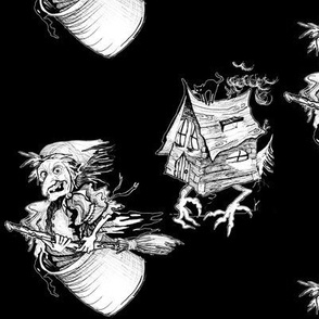 baba yaga and the house on chicken legs - black