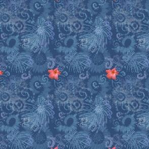 Dark Blue Tie Dye with Coral Flowers