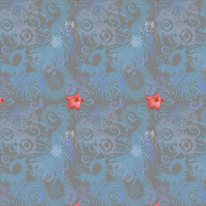 Blue Gray Tie Dye with Coral Flowers