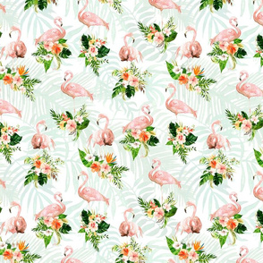 Flamingos with Tropical Leaves and Flowers