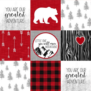 You are our Greatest Adventure//You will Move Moutains//Red - Wholecloth Cheater Quilt