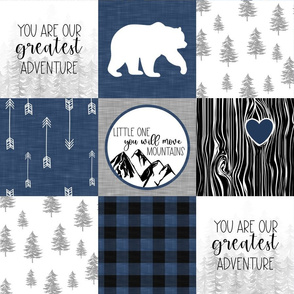 You are our Greatest Adventure//You will Move Moutains//Blue - Wholecloth Cheater Quilt