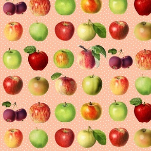 Apples and dots on peach ground