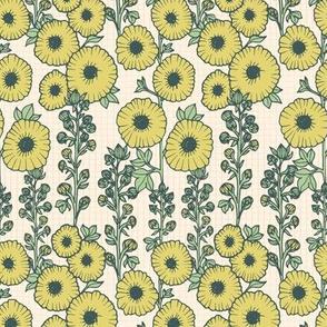 Hollyhocks offwhite Yellow